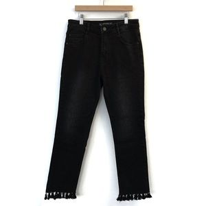 Zara Tassel Hem Jeans Black Denim Fringe Pants 2